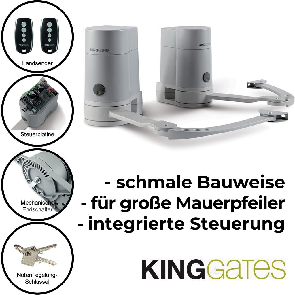 Kinggates Mini Modus Drehtorantrieb Set 2 flügelig mit Gelenkarm 2 m bis 250 kg *