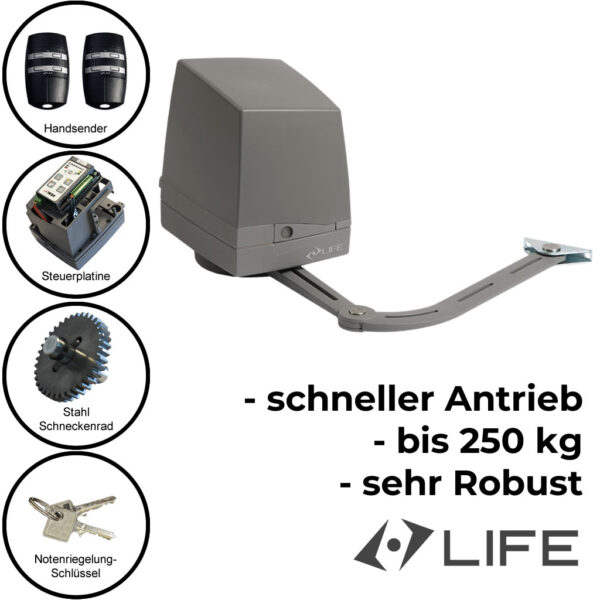 Life Armor Drehtorantrieb Set einflügelig mit Gelenkarm 2,5 m 250 kg * 1