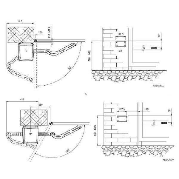 Life Armor Drehtorantrieb Set einflügelig mit Gelenkarm 2,5 m 250 kg * 4