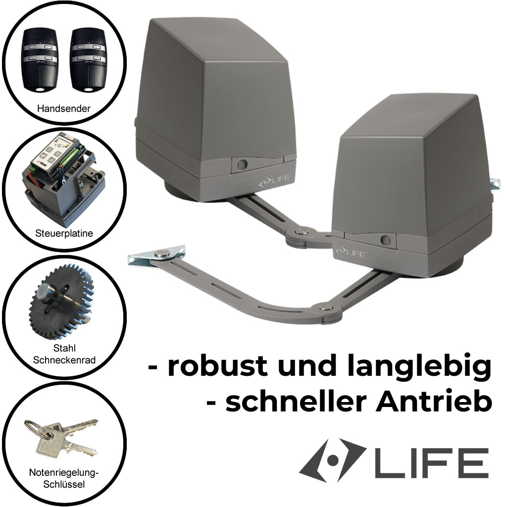 Life-Armor Drehtorantrieb Set 2 flügelig mit Gelenkarm 2,5 m 250 kg *