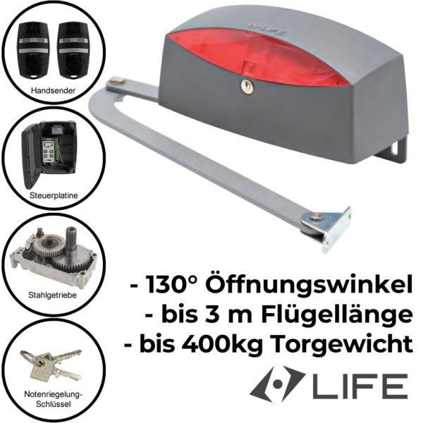 Life Sinuo 3 Drehtorantrieb mit Gelenkarm einflügelig bis 3 m 400 kg 1